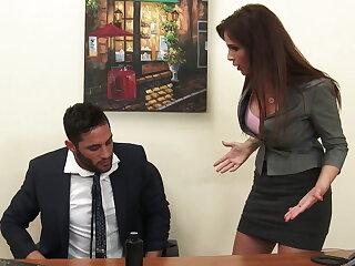 Sexy milf boss Syren De Mer exploits wage-earner for dick hd